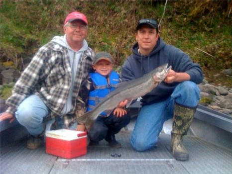 A family affair Grand Dad, Father, and Son with a nice steelhead